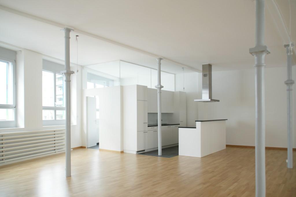 umbau b ro und gewerber ume in loft wohnung via liegenschaften ag. Black Bedroom Furniture Sets. Home Design Ideas